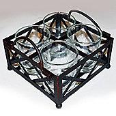 Raft - Metal + Glass 4 Tea Light / Candle Holder - Black