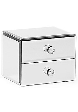 Beautify Mirrored Glass Jewellery Box with 2 Drawers
