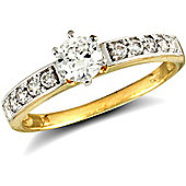 Jewelco London 9ct Solid Gold CZ set solitaire style Ring with stone set shoulders