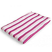 Baroo Striped Knitted Pram Blanket (Pink, Cream and White)