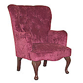 J H Classics Queen Anne Armchair - Mahogany - Angelina Blue Pattern