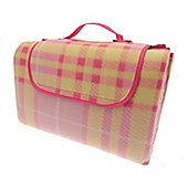 Country Club Family Size Beach & Picnic Blanket 150 x 200cm, Pink Tartan