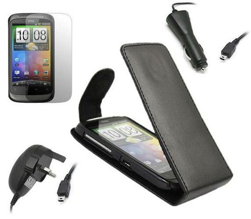 iTALKonline Black Flip Case, LCD Screen Protector, Car Charger and Mains Charger - For HTC Desire S