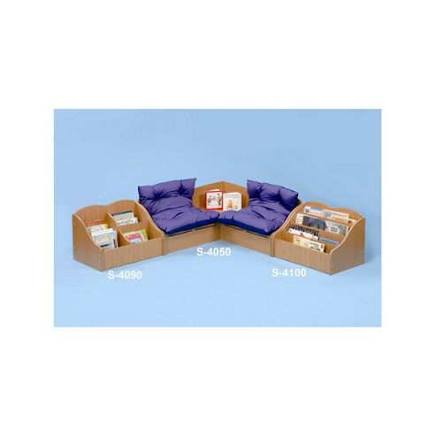 Twoey Toys Reading Corner Seat with Blue and Purple Cushions in Beech