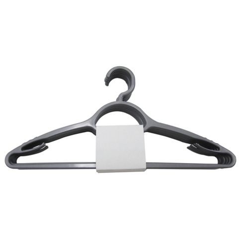Tesco Plastic Adult Coat Hangers, Pack of 10, Silver