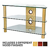 3 Shelf TV stand with Clear glass and light wood legs