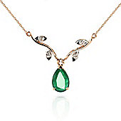 QP Jewellers 16in 1.15mm Vine Ripe Necklace with Diamond & Emerald Pendant in 14K Rose Gold