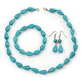 Turquoise Bead Necklce, Drop Earrings & Flex Bracelet - 40cm Length