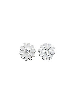 Sterling Silver White Daisy Earrings