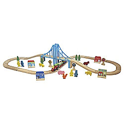 Carousel Wooden City Train Set 60pcs