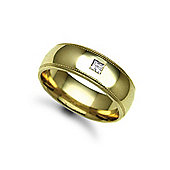 Jewelco London 9ct Yellow Gold 7mm Court Mill-Grain Diamond set 10pts Solitaire Wedding / Commitment Ring