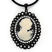 Large Diamante 'Classic Cameo' Pendant On Velour Cord Choker Necklace - 36cm Length & 6cm Extension