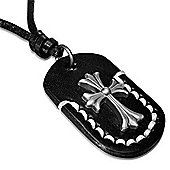 Urban Male Men's Black Leather Cross Dog Tag Necklace Adjustable