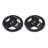 Body Power Rubber Enc Tri Grip STANDARD Weight Disc Plates - 7.5Kg (x2)