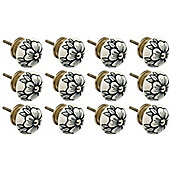Ceramic Cupboard Drawer Knobs - Floral Design - Flower Bud - Pack Of 12