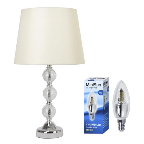 Crackle Glass Ball LED Table Lamp in Chrome with Cream Shade