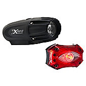 Moon X-Power 300 Front with Moon Shield Rear Bike Light Set Black