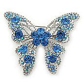 Dazzling Sky Blue Swarovski Crystal Butterfly Brooch In Rhodium Plating - 6cm Length