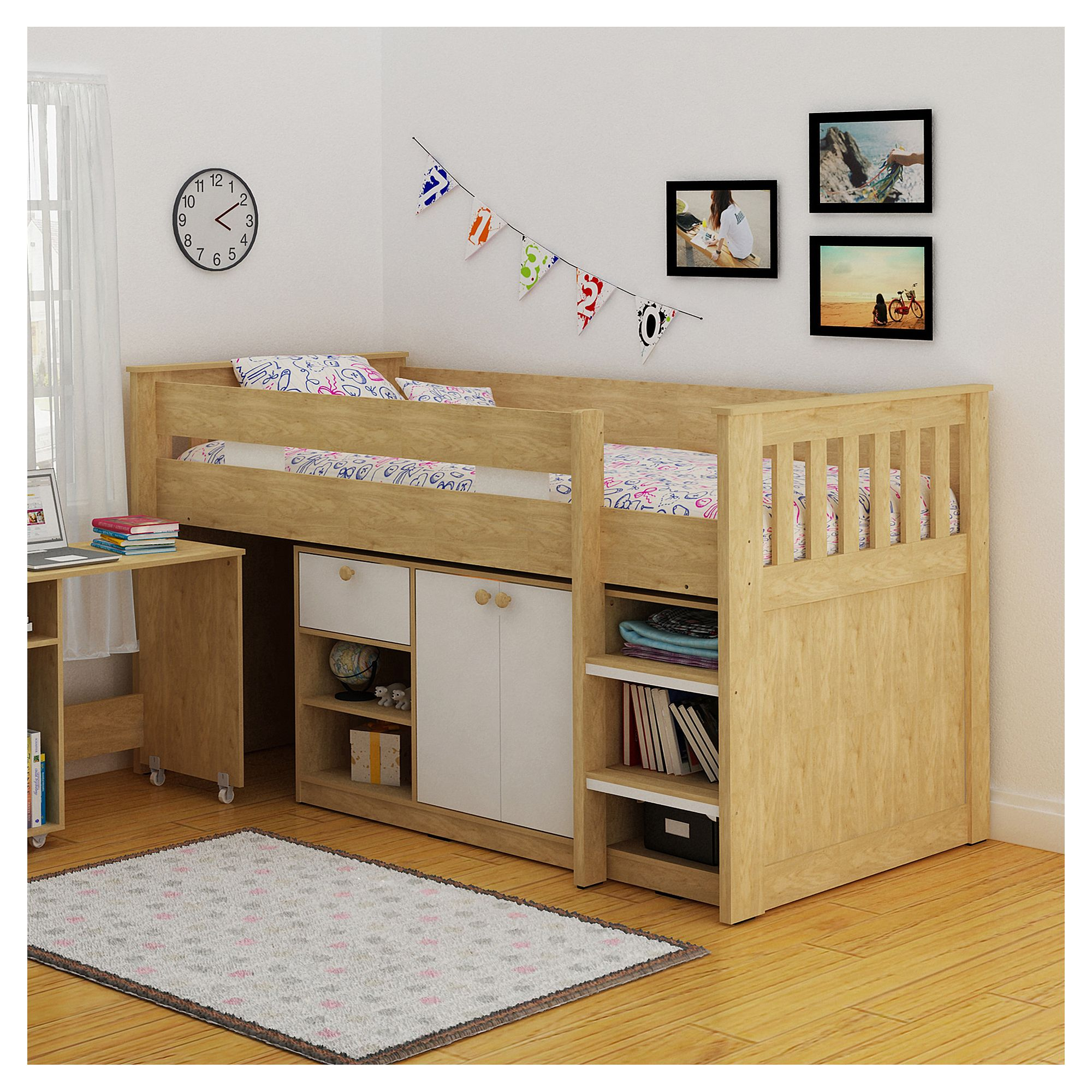 Home Essence Merlin Study Bunk Bed - Oak / White at Tesco Direct