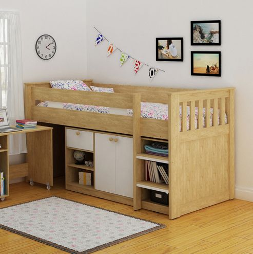 Home Essence Merlin Study Bunk Bed - Oak / White