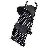 Fleece Footmuff To Fit I'Candy Apple Peach Strawberry - Polka Dot Black
