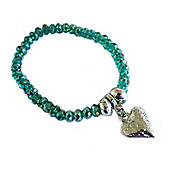 Teal Crystal Bracelet with Hammered Heart Droplet