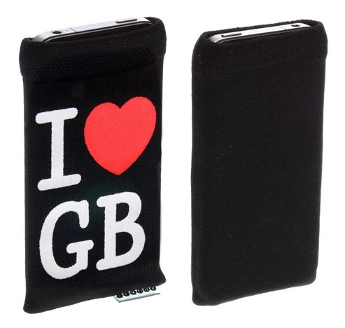 Trendz Fabric Sock for Universal Smartphone Devices - Black I Love GB