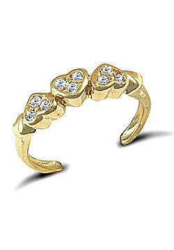 Jewelco London 9ct Solid Gold CZ set Hearts Toe Ring