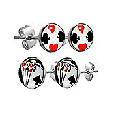 Urban Male Two Pair Set of Men's Stainless Steel Playing Card & Symbols Stud Earrings