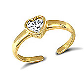 Jewelco London 9ct Solid Gold Toe Ring rub-over set with a heart shaped CZ stone