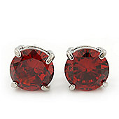 Ruby Red Coloured CZ Round Cut Stud Earrings In Rhodium Plating - 10mm Diameter