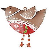 Painted Tin Robin Christmas Tree Decoration