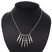 Silver Plated Hammered Bars/Beads Necklace - 38cm Length/ 8cm Extension