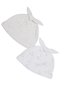 F&F 2 Pack of Printed Hats - White