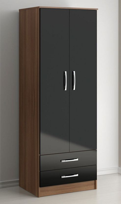 Birlea Lynx Two Drawer Wardrobe - Black and Walnut