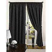 Faux Silk Eyelet Curtains - Black