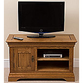 Bordeaux Rustic Solid Oak Small Tv + DVD Unit / Cabinet Living Room Furniture