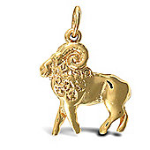 Jewelco London Solid Gold hand finished Aries star sign zodiac pendant (Height includes Bale/Loop)