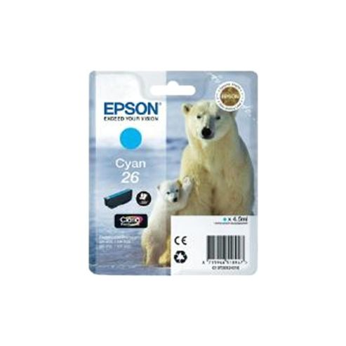Epson Polar Bear 26 Cyan Claria Premium Ink Cartridge (RF) for Expression Premium XP-600/XP-605/XP-700/XP-800 All-in-One Inkjet Printers
