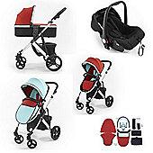 Tutti Bambini Riviera Plus 3 in 1 Silver Travel System - Coral Red/Aqua