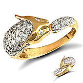 9ct Solid Gold CZ pave-set Panther Ring with stone set eyes