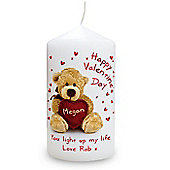 Personalised Teddy Valentine Heart Candle