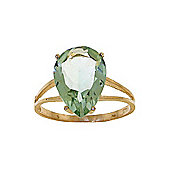QP Jewellers 5.0ct Green Amethyst Pear Drop Ring in 14K Gold