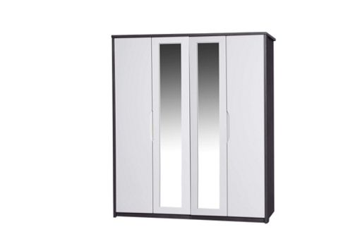 Alto Furniture Avola 4 Door Wardrobe with Mirror - Grey Avola Carcass With Cream Gloss
