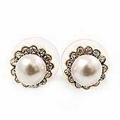 Teen Small Diamante, Pearl Stud Earrings In Gold Plating - 10mm Diameter