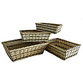 Wicker Valley Two Tone Rectangular Tray 4 Piece Set