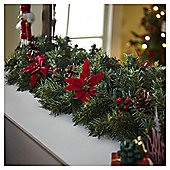 Poinsettia, Berry and Pine Cone Christmas Garland, 1m