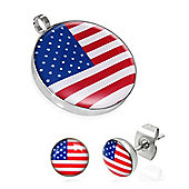 Urban Male Stainless Steel Stars & Stripes Pendant & Earring Set For Men