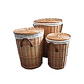 Set of 3 Natural Round Willow Wicker Laundry Baskets in 3 Sizes