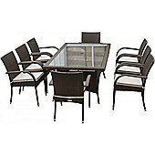 Roma 8 Chairs And Large Rectangular Table Set in Chocolate Mix and Coffee Cream